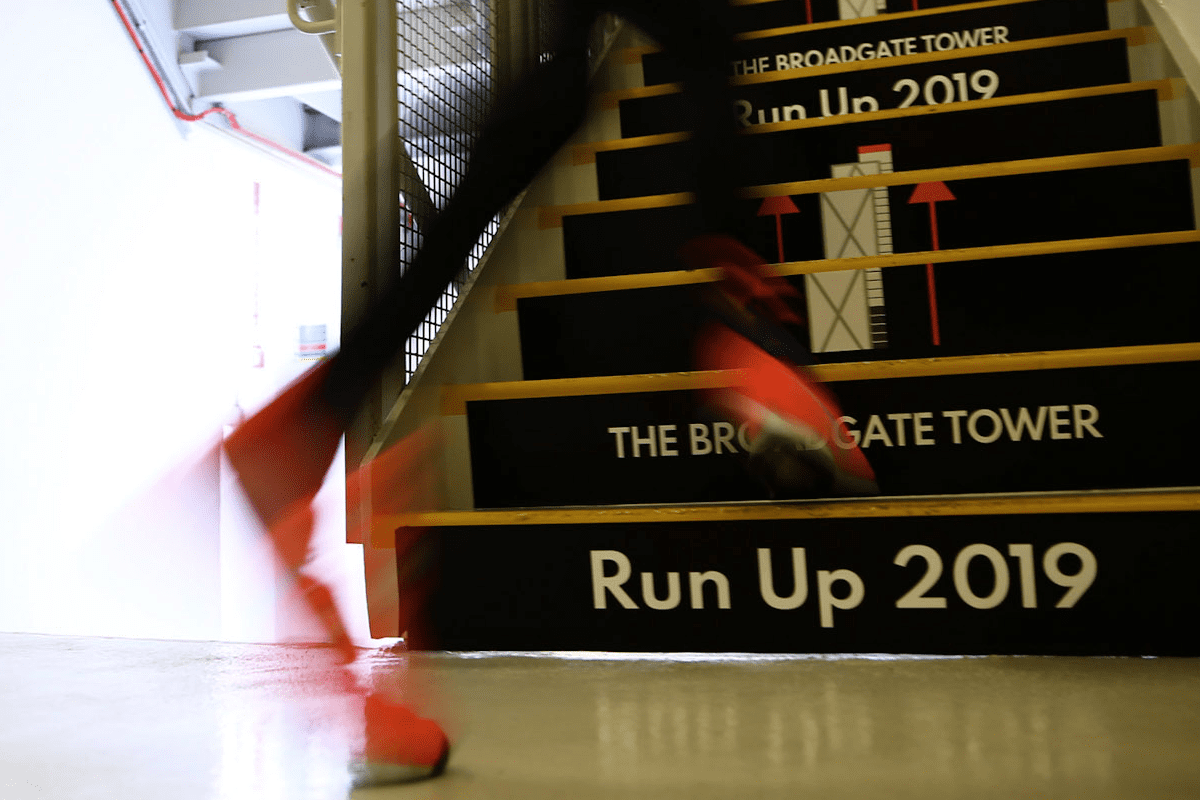 The Blue Light Stair Run is a new annual stair climb event at Broadgate Tower for uniformed emergency services personel.