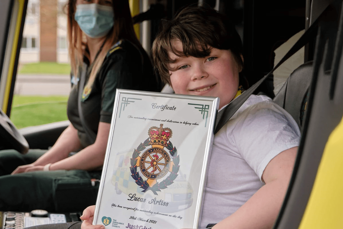 Ambulance loving Lucas raises £1,500 for The Ambulance Staff Charity (TASC) by walking almost 979,000 steps in March