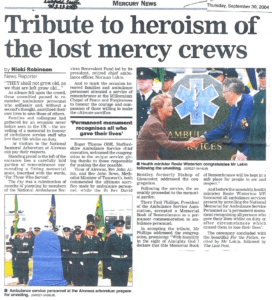 The Mercury News article about the first National Ambulance Memorial Service