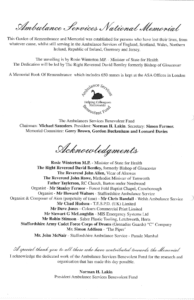 The back cover of the programme for the first National Ambulance Memorial Service