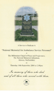 The front cover of the programme for the first National Ambulance Memorial Service